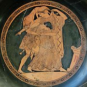 Ο Πελέας παλεύει με την Θέτιδα τη στιγμή που αυτή μεταμορφώνεται σε λιοντάρι. (490 π.Χ., Cabinet des Médailles, Παρίσι)
