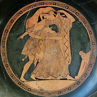 Thetis - Thetis changing into a lioness as she is attacked by Peleus, Attic red-figured kylix by Douris, c. 490 BC from Vulci, Etruria - Bibliothèque Nationale de France in Paris.