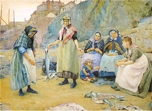 Evolutionary models of food sharing - Sharing Fish: painting by Thomas Cooper Gotch, 1891