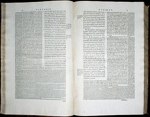 Stephanus pagination - Volume 3, pages 32–33, of the 1578 Stephanus edition of Plato, showing a passage of Timaeus with the Latin translation and notes of Jean de Serres