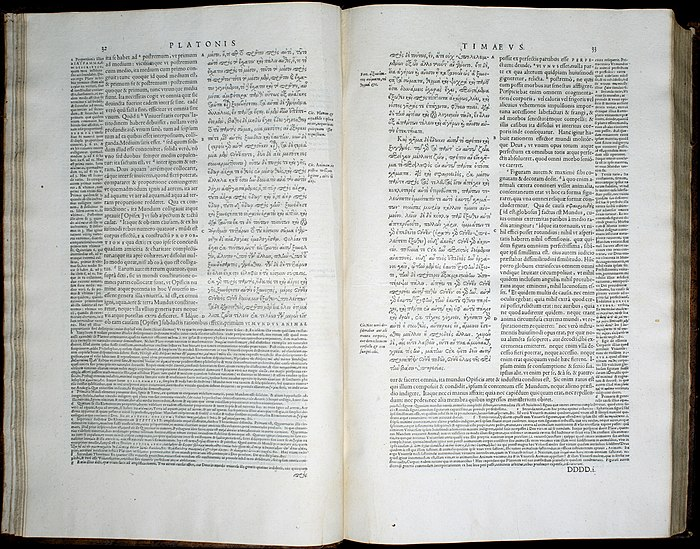 Volume 3, pp. 32-33, of the 1578 Stephanus edition of Plato, showing a passage of Timaeus with the Latin translation and notes of Jean de Serres Timaeus stephanus pages 32 33.jpg