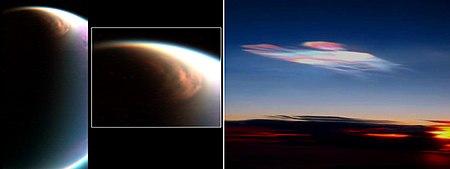 السُحب القُطبية المُكوَّنَة من الميثان على تيتان (يسارًا) مقارنةً مع السُحب القُطبية على الأرض (يمينًا)، والتي هي مُكوَّنَة من الماء والجليد.