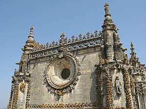 Convent of Christ (Tomar) - The elaborate pinnacles over the western facade of the church