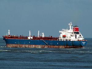 Torm Charente - IMO 9230854 - Callsign OYNS2 p3 leaving Port of Rotterdam, Holland 12-Mar-2006.jpg