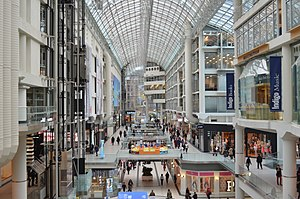 Toronto Eaton Centre - Looking north in the atrium of the Toronto Eaton Centre
