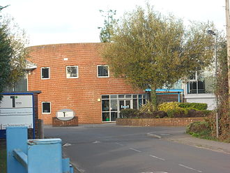 Totton College - Totton College's Calmore Road entrance and South Wing as seen in September 2013.