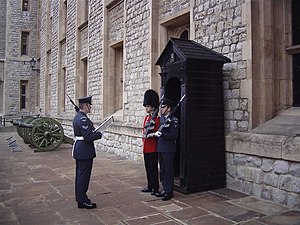 Queen's Colour Squadron - A QCS sentry (SAC Lawrence) relieves a Coldstream Guards sentry at the Tower of London