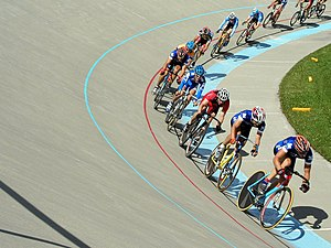 Cant (road/rail) - Cant in a velodrome