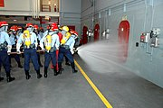 Training at the Recruit Training Command's fire fighting school.