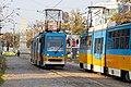 Tram in Sofia near Russian monument 029.jpg