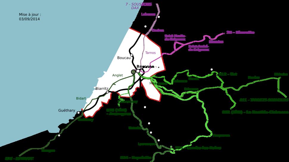Transport interurbain autour de Bayonne 03092014