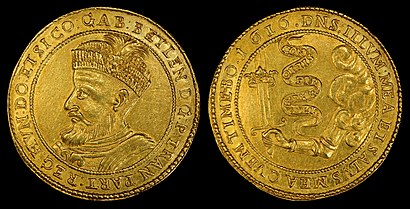 1616 ten-ducat gold coin depicting Gabriel Bethlen as Prince of Transylvania