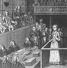 A monochrome sketch of a young woman standing in the dock of a courtroom. The room is filled with wigged men.