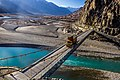 Truck on Kanchey Bridge crossing Gilgit River.jpg