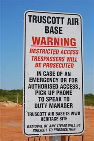 Mungalalu Truscott Airbase - Warning sign at the landing ramp in West Bay which supports the resupply of Truscott Air Base