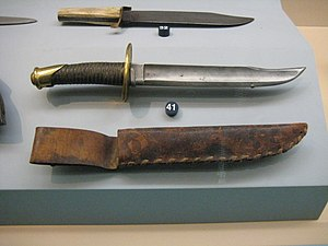 Fighting knife - Top: Bowie Knife c. 1850s  Bottom: Naval Bowie Knife c. 1860s