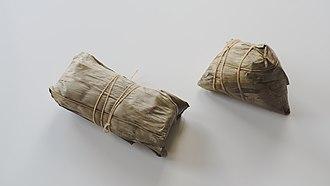 Zongzi - Southern-style (right) and Northern-style (left) zongzi
