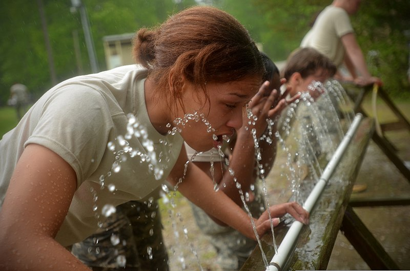 File:U.S. Army Pvt. Deidra Reinatdixon, left, with the 1132nd Military Police Company, North Carolina Army National Guard, rinses herself with water after being exposed to oleoresin capsicum (OC) spray during OC 130501-Z-AY498-019.jpg