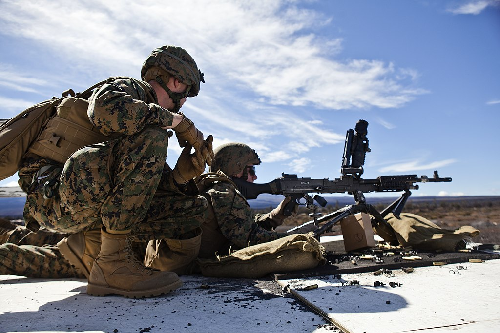 File:U.S. Marine Corps Pfc. Marc Malloy, right, a machine gunner ...