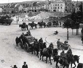 SS Iowan - In her U.S. Navy service during World War I, Iowan transported horses for use by the American Expeditionary Force, like these seen here with a U.S. field artillery unit at Château-Thierry.
