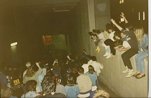 The Joshua Tree Tour - Fans waiting for U2 outside Hartford Civic Center May 1987