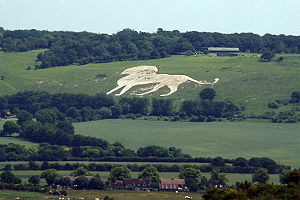 Whipsnade Zoo - Whipsnade hill figure seen from Ivinghoe Beacon