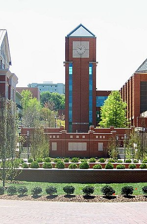 University of North Carolina at Charlotte - This quad-style area was completed in 2007 with the completion of the College of Health and Human Services (left) and the Cato College of Education (right).