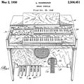 US2506451A Organ Console (1949-10-28 filed, 1950-05-02 published) by Laurens Hammond - Hammond M Fig.1.jpg