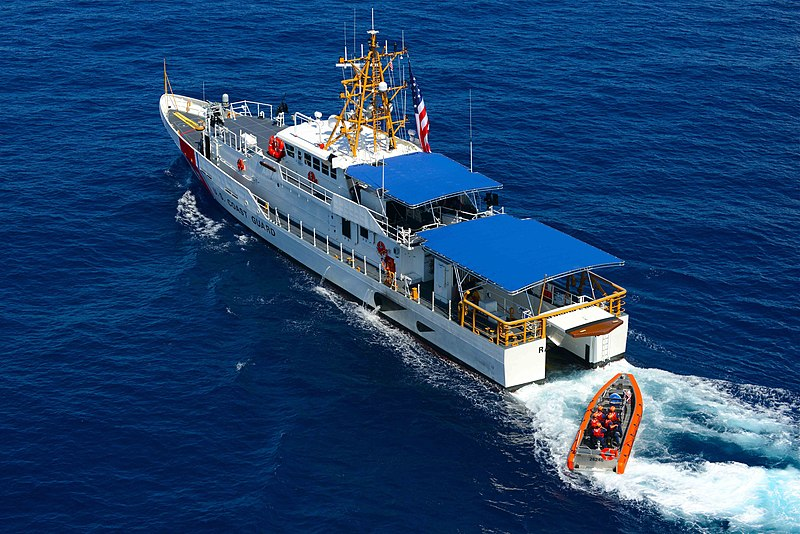 USCGC Raymond Evans uses her stern-launching ramp to deploy her pursuit boat.jpg