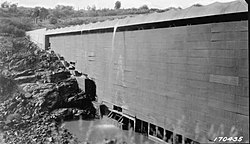 US Forest Service photo of the Ashfork-Bainbridge Steel Dam taken in 1922.