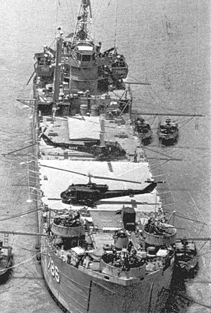 Operation Game Warden - USS Garrett County anchored in the Mekong River Delta