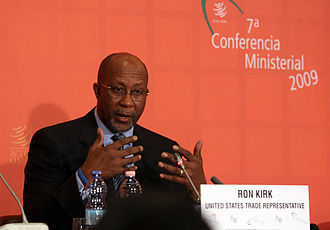 Ron Kirk - Kirk speaking at a press conference at the end of the 7th WTO Ministerial Conference