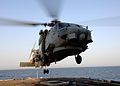 US Navy 050724-N-5526M-002 An SH-60B Seahawk helicopter assigned to the Jaguars of Helicopter Anti-Submarine Squadron Light Six Zero (HSL-60) lifts off.jpg