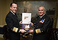 US Navy 070213-N-0696M-151 Chief of Naval Operations (CNO) Adm. Mike Mullen presents Commander-in-Chief, Chilean Navy, Adm. Rodolfo Codina Diaz, with a gift at the conclusion of an office visit to the Pentagon.jpg