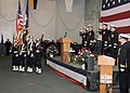 US Navy 070326-N-9079D-037 Color guard parades the colors during a change of command ceremony for Carrier Strike Group (CSG) 9, held aboard USS Abraham Lincoln (CVN 72).jpg