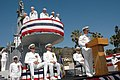 US Navy 070712-N-0946B-004 Cmdr. Scott Swehla, commanding officer of Los Angeles-class attack submarine USS Asheville (SSN 758), speaks at the podium for his change of command ceremony.jpg