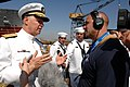 US Navy 080918-N-8273J-187 Chief of Naval Operations (CNO) Adm. Gary Roughead speaks with media at the conclusion of the christening and launch ceremony of USNS Carl Brashear (T-AKE 7) at General Dynamics NASSCO shipyard.jpg