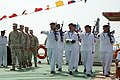 US Navy 090430-N-8053S-102 U.S. and Iraqi sailors march on the Khawr Al Amaya Oil Terminal off the coast of Basra in the Persian Gulf during a ceremony to turn over control of the terminal from the U.S. Navy to the Iraqi Navy.jpg