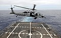 US Navy 100709-N-7058E-109 An MH-60S Sea Hawk helicopter takes off from the flight deck of the littoral combat ship USS Freedom (LCS 1).jpg
