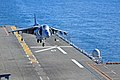 US Navy 110210-N-1376S-152 An AV-8B Harrier assigned to the Black Sheep of Marine Attack Squadron (VMA) 214 lands aboard the amphibious assault shi.jpg