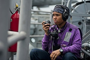 US Navy 111220-N-DX615-054 Aviation Boatswain's Mate (Fuels) Airman Charetta Frierson, stands fuels phone talker watch during an underway replenish.jpg