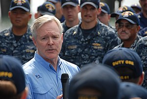 US Navy 120117-N-XX999-001 Secretary of the Navy (SECNAV) the Honorable Ray Mabus speaks to the crew aboard the Oliver Hazard Perry-class guided-mi.jpg