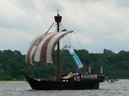 A full-scale replica of a cog, a type of vessel commonly used for cargo in Northern Europe from the 10th to the 14th centuries Ubena von Bremen Kiel2007 2.jpg