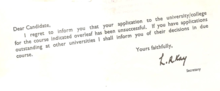 "Letter from UCCA (""I regret to inform you..."") carrying Ronald Kay's signature"
