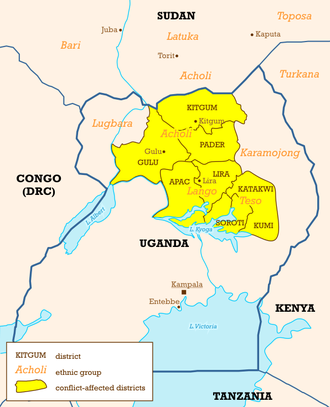Lango people - Ugandan districts affected by Lords Resistance Army