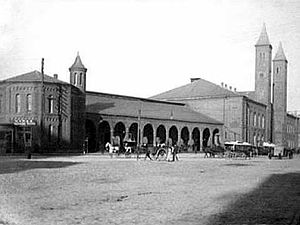 Thomas Alexander Tefft - Providence Union Station, 1847–1896.  Note similarity in style to the Cannelton Cotton Mill