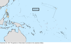 Map of the change to the United States in the Pacific Ocean on December 23, 1941