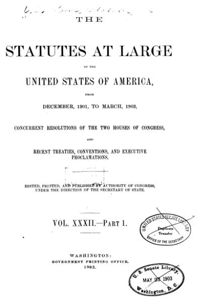 File:United States Statutes at Large Volume 32 Part 1.djvu