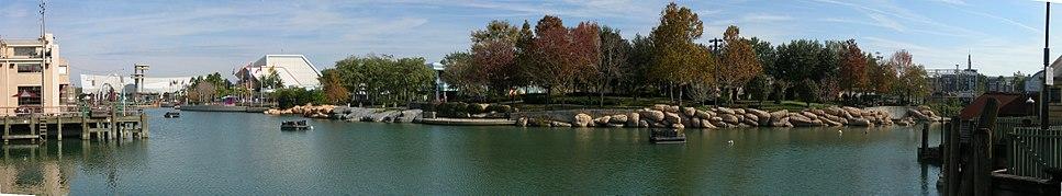 Panoramic view of Universal Studios Florida's lagoon