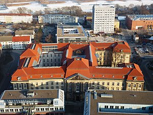 Viadrina European University - Red-tiled Viadrina main building, ex regional Government House, seen from Oderturm 2012